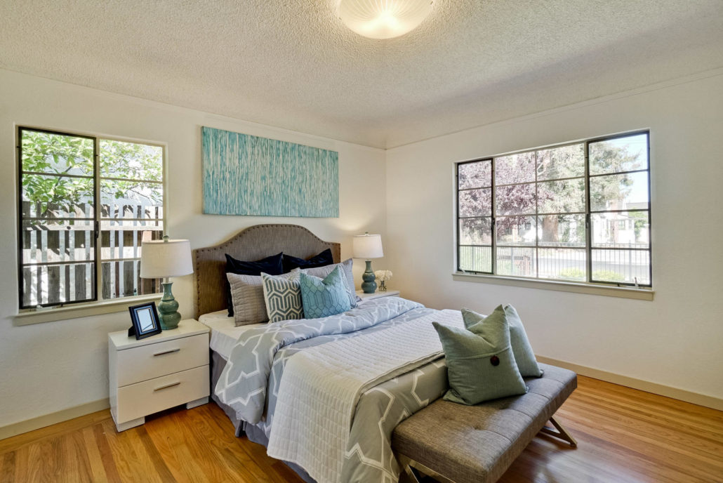 Double Bed With Square Pillows