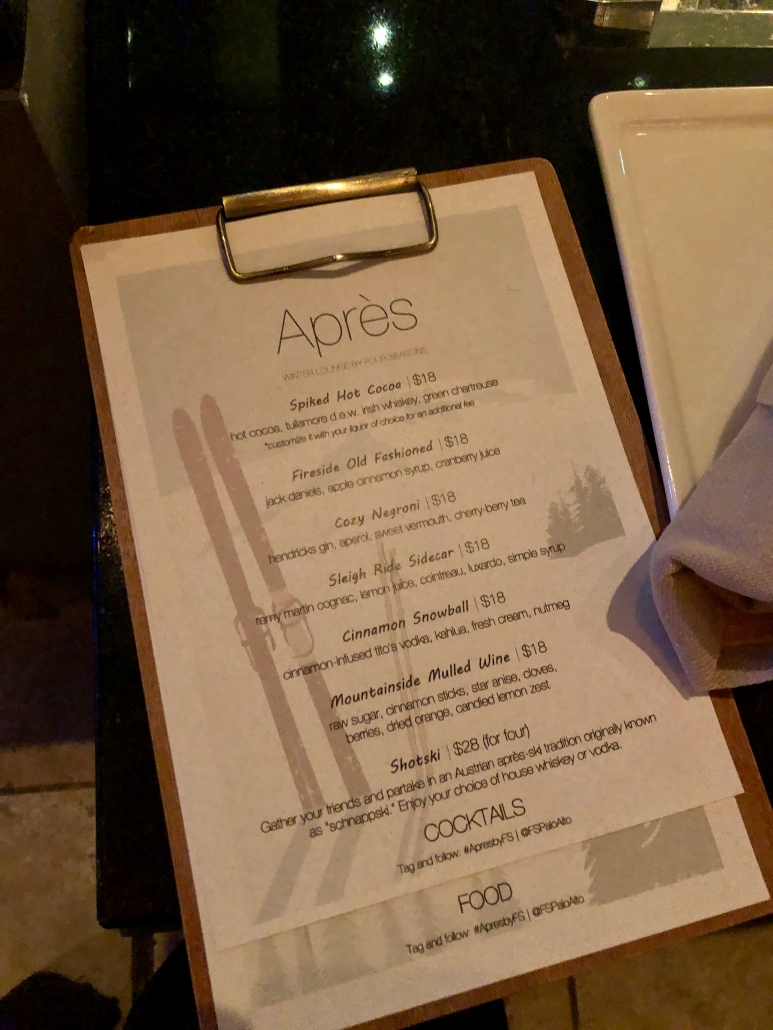 Apres Cocktail Menu